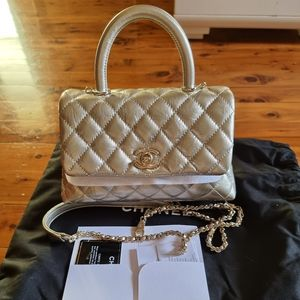 CHANEL COCO FLAP BAG WITH TOP HANDLE - LIGHT GOLD